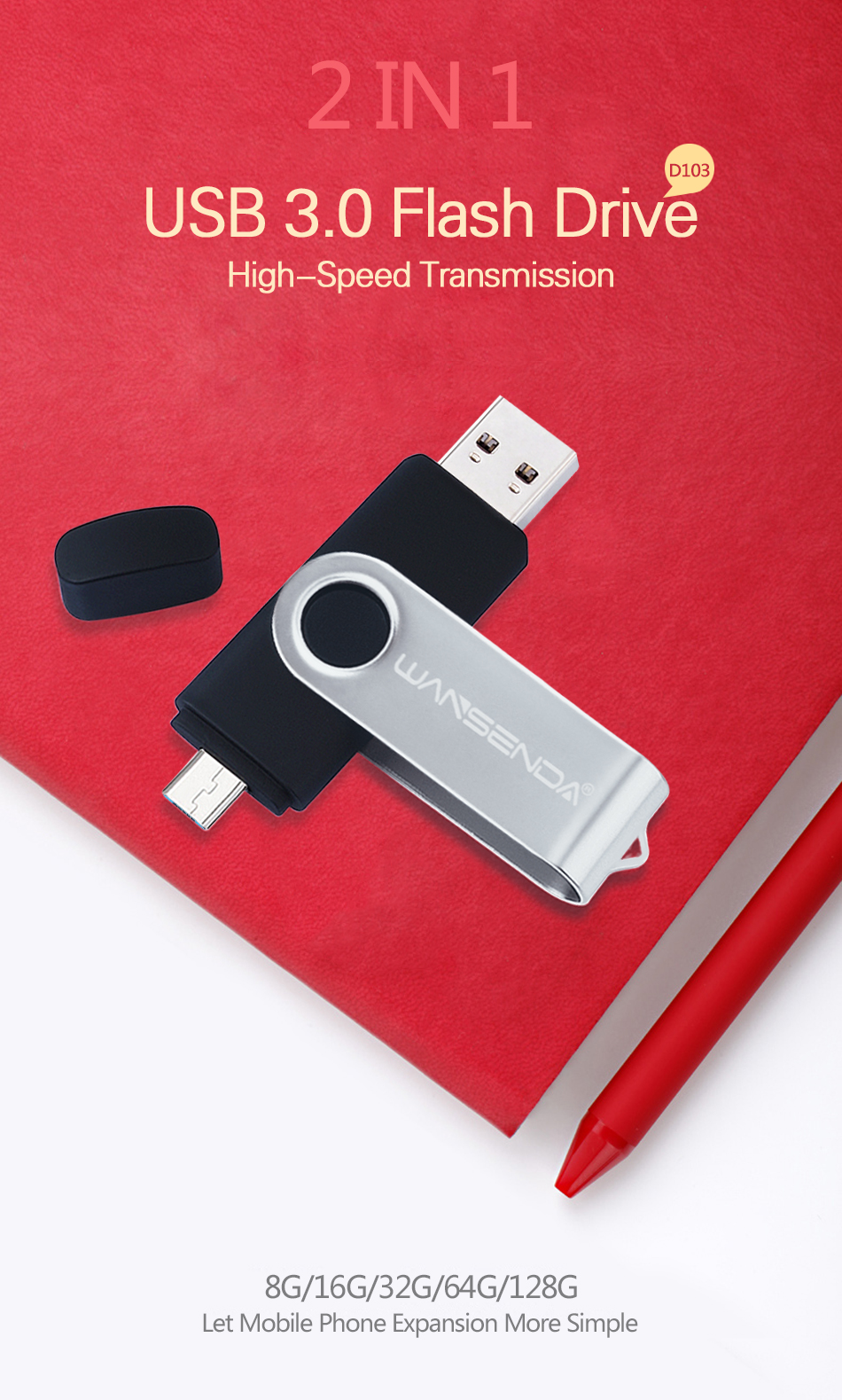 5 Lots 1G-32G Flash Memory Drives Memory Flash Stick Anti-Skid Swivel Pen Drives