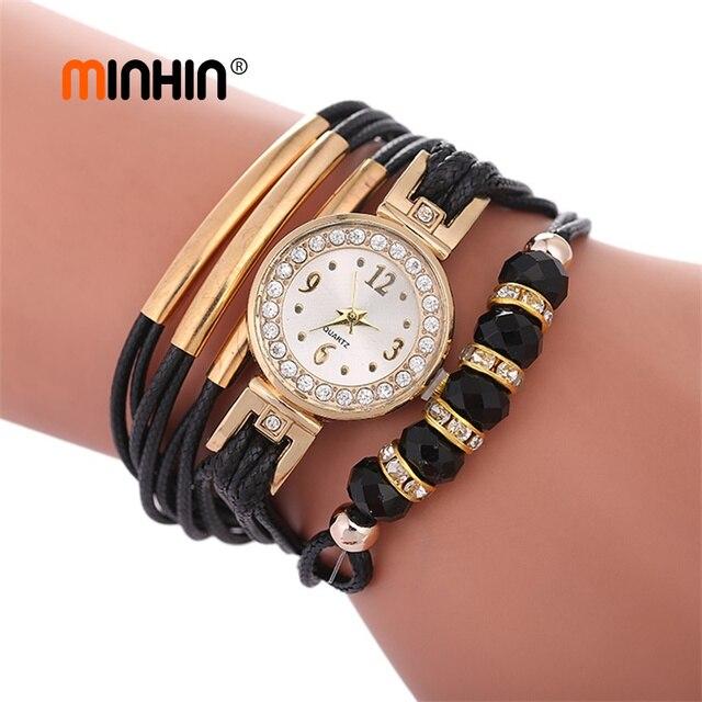 MINHIN nouvelle mode Bracelet en cuir montres pour femmes perles africaines breloques or strass montre bricolage corde montre-Bracelet cadeau