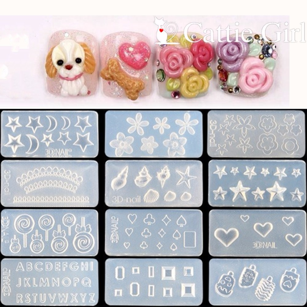 3D Acrylic Mold for Nail Art Decorations DIY Design Silicone Nail Art Templates Pattern manicure beauty Nails Art Cattie Girl-in Nail Art Templates from Beauty & Health
