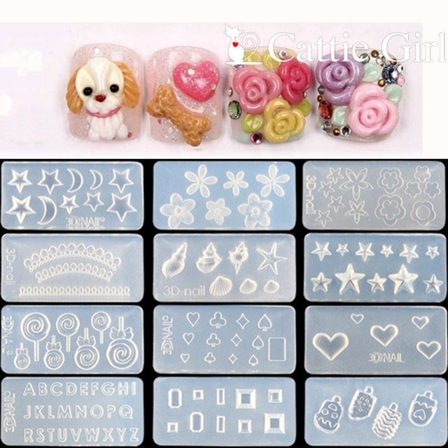 3D Acrylic Mold for Nail Art Decorations DIY Design Silicone Nail Art Templates Pattern manicure beauty Nails Art Cattie Girl