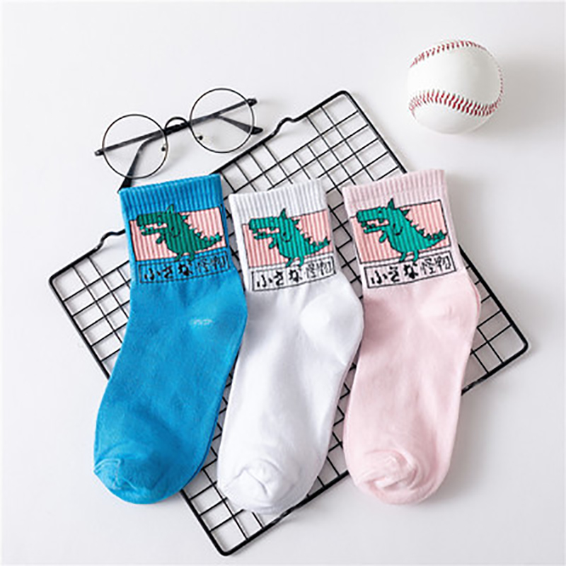 Japan Harajuku Women Cute Cartoon Animal Dog Dinosaur Cat Cotton Socks Lovely Men Funny Novelty Creative Unisex Socks