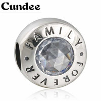925 Sterling Silver Family Forever Charms Bead Fit Pandora Bracelets DIY Clear CZ Crystal Family Beads