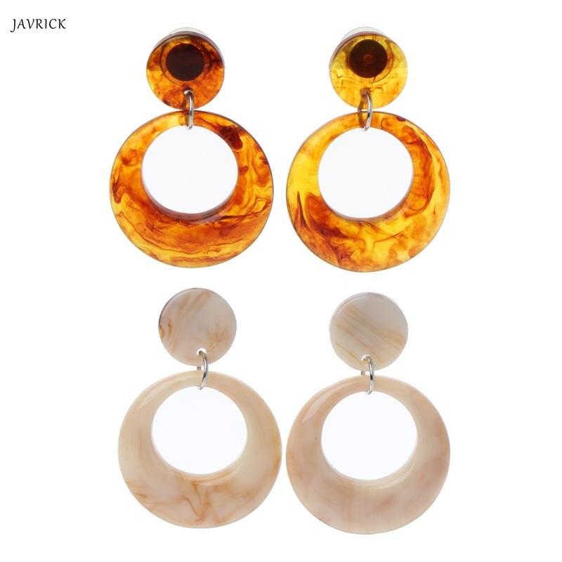 New Earrings Acrylic Acetate Leopard Geometric Round Drop Earrings Statement Fashion Jewelry in Drop Earrings from Jewelry Accessories