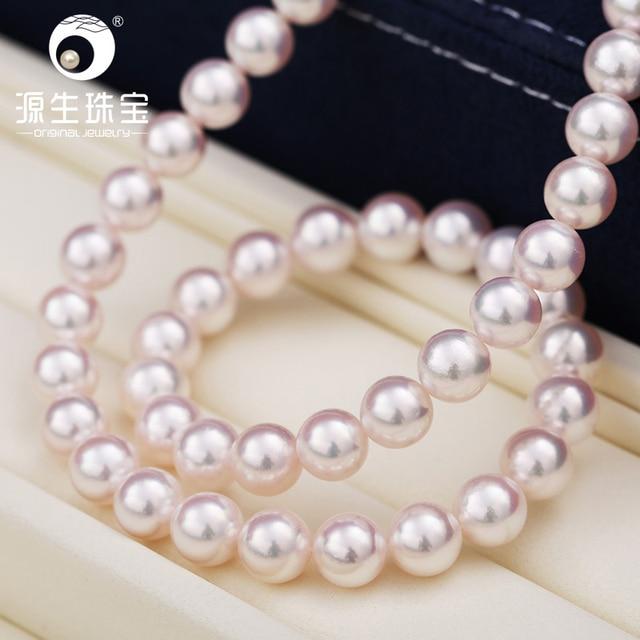 dc4dfde426fd  YS  alta calidad Hanadama perla Blanco japonés Akoya cultivado collar de  perlas