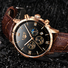 Relogio Masculino LIGE Mens Watches Top Brand Luxury Black Watch Leather Casual Quartz Watch Men Military Sport Waterproof Clock top brand luxury moon phase men quartz watches mens casual sport watch male multifunction waterproof clock relogio masculino