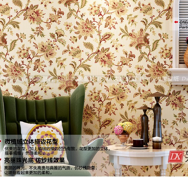 2016 new selling European rural non-woven wall paper American country non-woven wallpaper bedroom living room TV setting wall european non woven wallpaper wall stickers bedroom living room tv setting wall paper wallpaper the sand classic stripes european