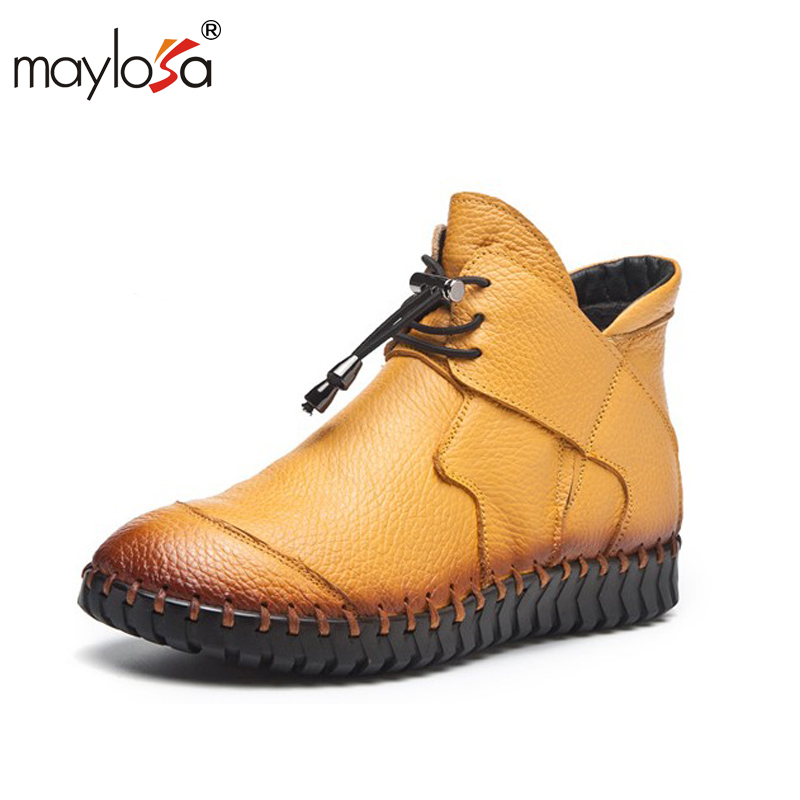 MAYLOSA New women Genuine Leather Boots Vintage Style Flat Booties Soft Cowhide Women's Shoes side Zip Ankle Boots Female Winter maylosa 2017 vintage style genuine leather women boots flat booties soft cowhide women s shoes zip ankle boots warm winter shoe