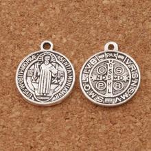 100pcs   20x17mm Antique Silver Saint St Benedict Nursia Patron Medal Cross Charms Pendants L1649 saint jesus benedict nursia patron medal crucifix cross charm pendants jewelry diy 11 8x15mm 200pcs lot antique gold a 381