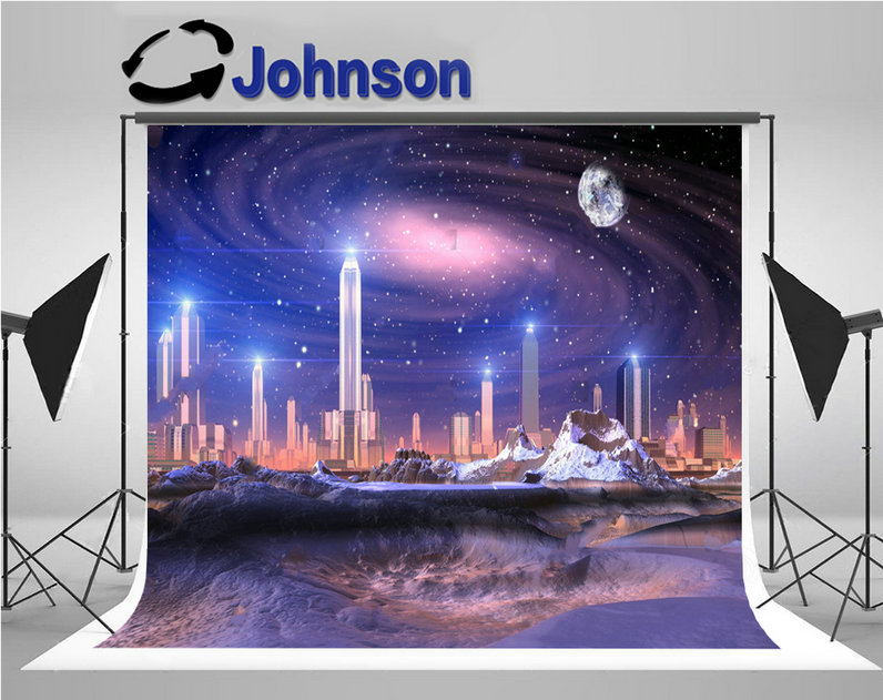 super city skyline futuristic alien moon galaxy space backdrops Vinyl cloth High quality Computer print party background