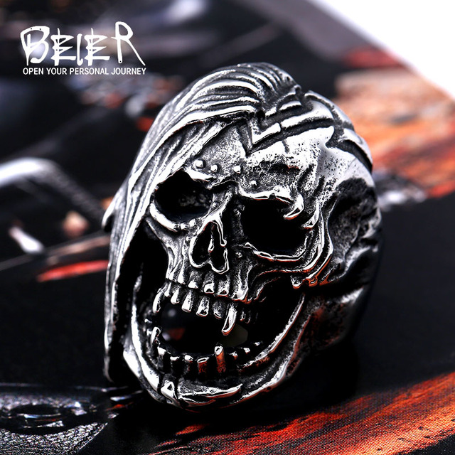 Beier new store 316L Stainless Steel Skull Ring For Men top quality Vintage Exaggerated fashion Jewelry LLBR8-396R Timelord Clothing UK