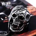 Beier nueva tienda anillo del cráneo del acero inoxidable 316l para los hombres de calidad superior de la vendimia exagerada joyería de moda br8-396