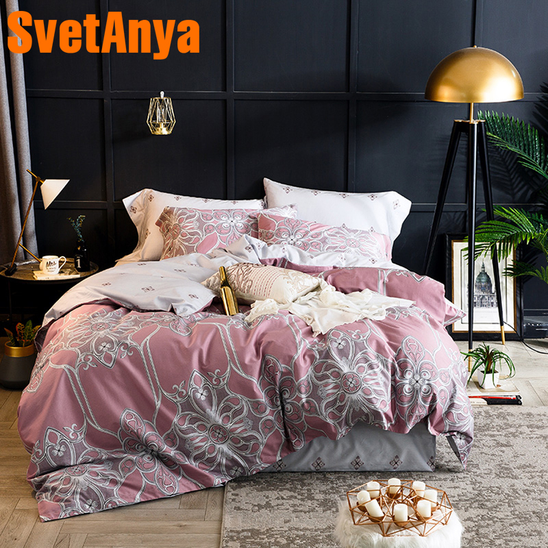 Svetanya Pink Bedding Sets Egyptian Cotton Sheet Pillowcases Quilt cover set Twin Queen King Double Size
