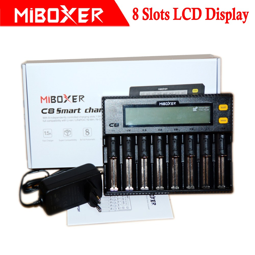 Miboxer c8 Intelligent Charger 8 Slots Total 4A Output Smart Charger for IMR18650 16340 10440 AA AAA 14500 26650 and USB Device uniquefire bc u8 4 slots battery charger for 14500 16340 17335 aaa more black silver