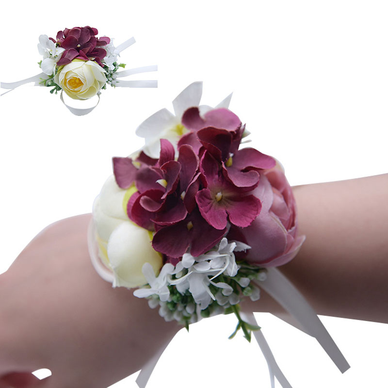 Wedding Bride Girl Bridesmaid Floral Hand Wrist Corsage Adjustable Ribbon Rose Bracelets Ceremony Party Prom Flower Decor 7c2002 Neither Too Hard Nor Too Soft Festive & Party Supplies Artificial & Dried Flowers