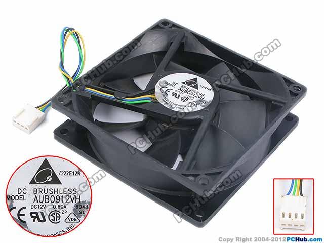 DELTA Electronics AUB0912VH 6D43 DC 12V 0.60A 90X90X25mm Server Square Fan
