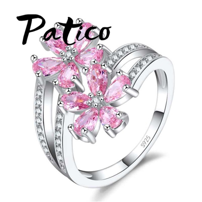 PATICO Fashion Two Colors Elegant 925 Sterling Silver Daisy Flower Rings Clear Pink CZ Crystal Stone Wedding Rings For Women