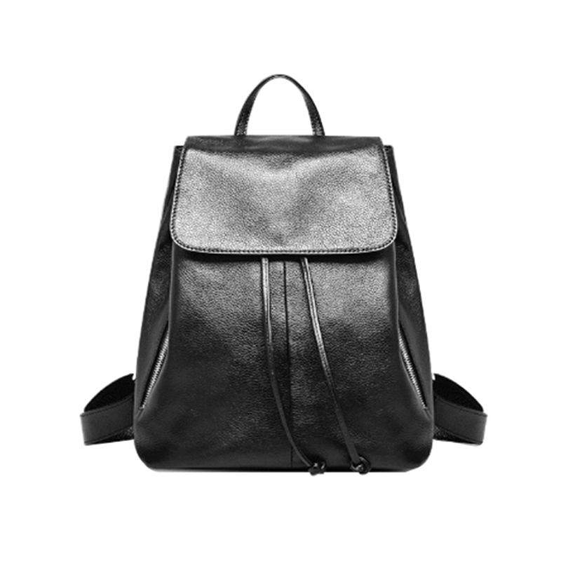 Homeda New Genuine Leather Classic Women Backpacks Fashion Solid Ruched Hasp Girl Bag Z0010 2017 classic fashion new women backpacks