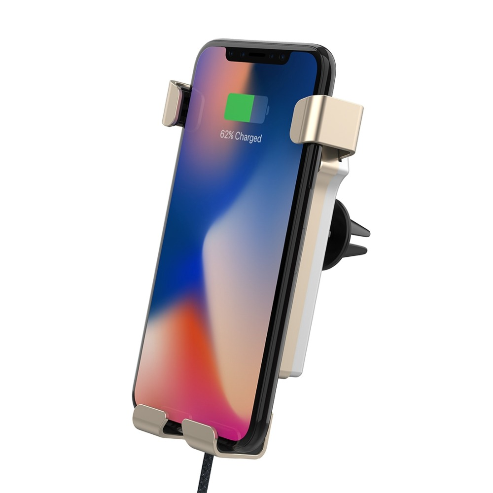 GKFLY Qi Wireless Charger Car Mount 10W Fast Charging for Galaxy S8 S7 for Huawei for Xiaomi for Other QI Standard Smart Phone