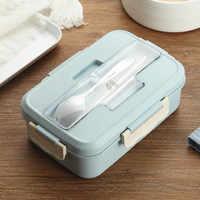 Fiambrera de paja de trigo de 1000ml con cuchara cajas Bento de Material saludable contenedor de almacenamiento de alimentos para microondas fiambrera