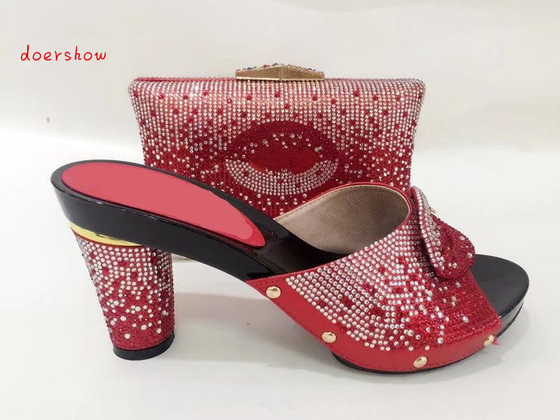 doershow RED Shoe And Matching Bag Set African Shoes And Matching Bags Italian Matching Shoes And Bags For African Party TYS1-11 doershow african shoes and bags fashion italian matching shoes and bag set nigerian high heels for wedding dress puw1 19