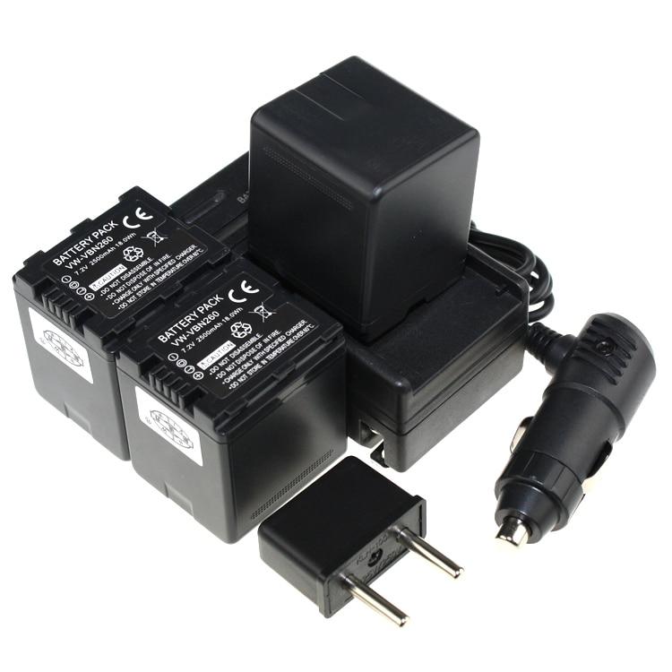 Digital Boy 3pcs Battery + Charger VW-VBN260 VW VBN260 VW VBN260 Rechargeable Camera Battery For Panasonic HDC-Tm900 HDC-SD900