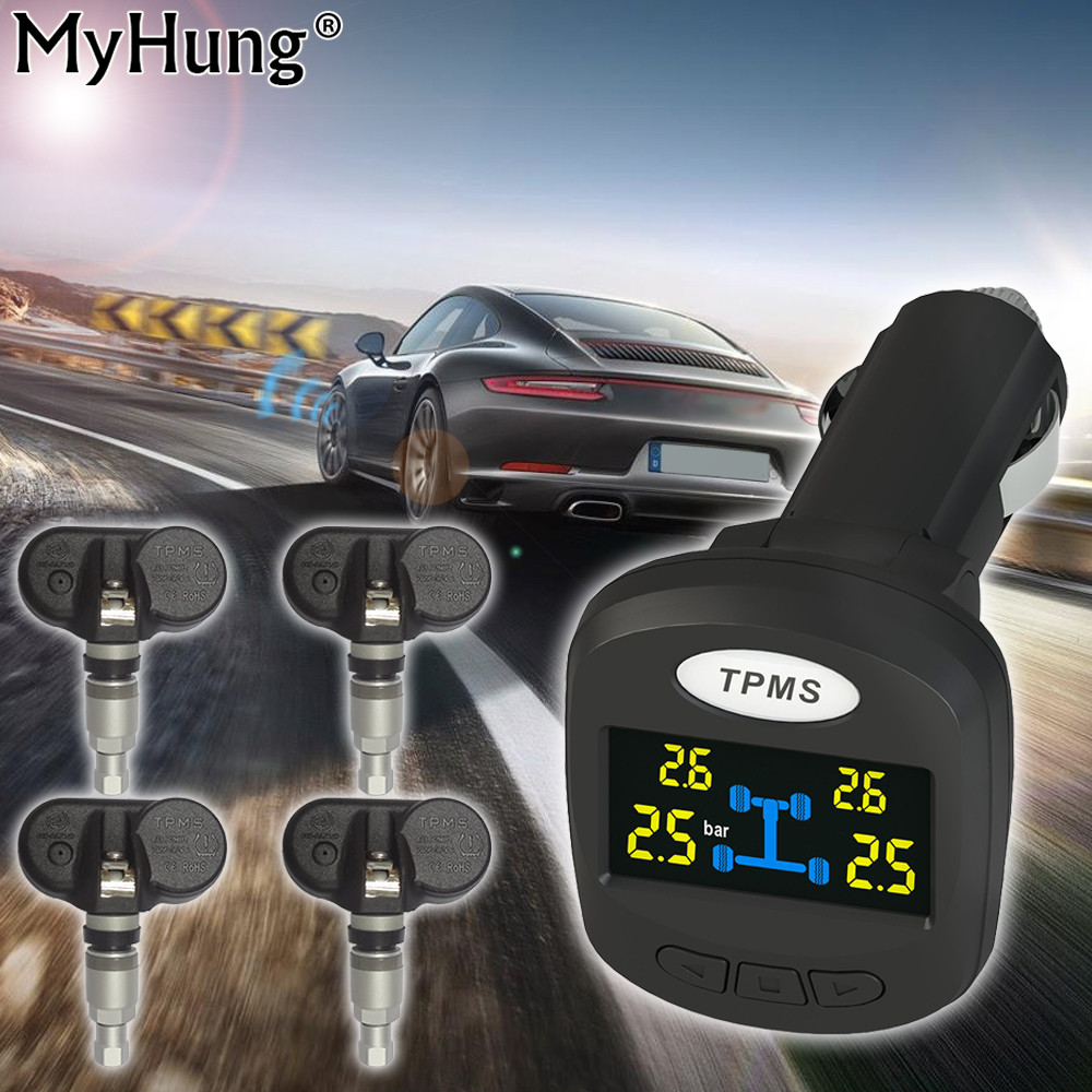 Car Tire Pressure Monitoring System Built-in Sensors Car Tire Diagnostic-tool Support Wireless Smart TPMS Cigarette Lighter original autel maxitpms ts501 with obd2 adapters tpms diagnostic
