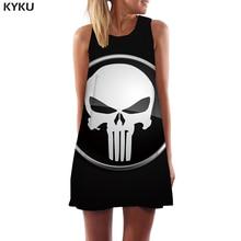 KYKU Punisher Dress Women Skull Sexy Black Beach Punk Rock Korean Style Abstract Tank Womens Clothing Tassel Ladies Wrap Fashion