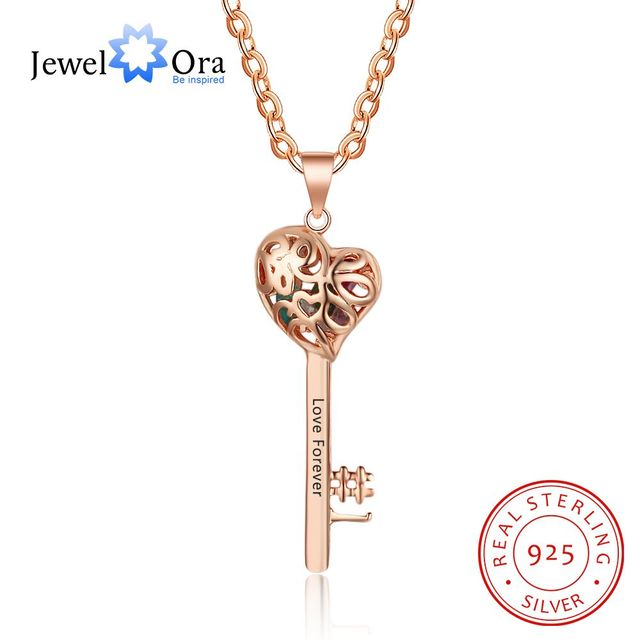 fdaf587c7ca Key Shape With Birthstone Rose Gold Color Personalized Gift Engrave Name 925  Sterling Silver Pendant Necklace(JewelOra NE102710)
