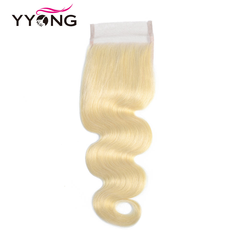 Yyong Hair 4x4 #613 Blond Lace Closure Body Wave Honey Blond Closures 8-22 Inch Free Three Part 100% Remy Human Hair(China)