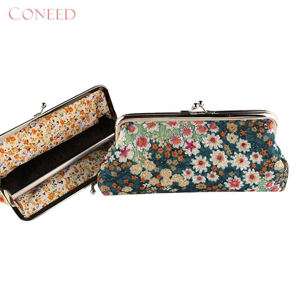 CONEED Women Lady Retro Vintage Flower Small Wallet Hasp Purse Clutch Bag Best Gift Jn2 Y20