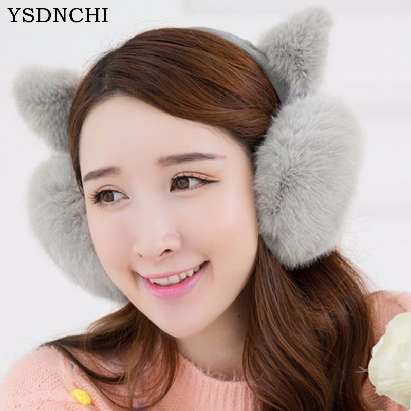 Outdoor New Fashion Cute Cat Ears Plush Earmuffs Comfortable Warm Earmuff Female Winter Outdoor Protect Ears Winter Accessories