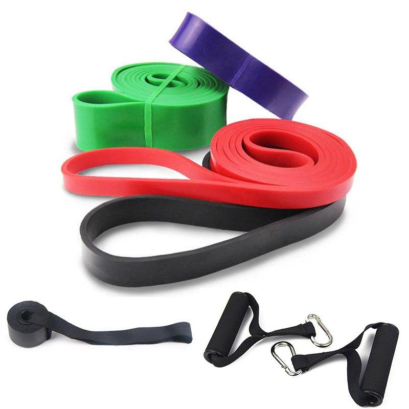 4 pcs Pull Up Fitness Resistance Band Latex Naturel Résistant Boucle Bandes Bande Stretch Exercice avec Porte Ancre + Poignées