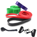 4pcs Pull Up Fitness Resistance Band Natural Latex Resistant Loop Bands Exercise Stretch Band with Door Anchor + Handles