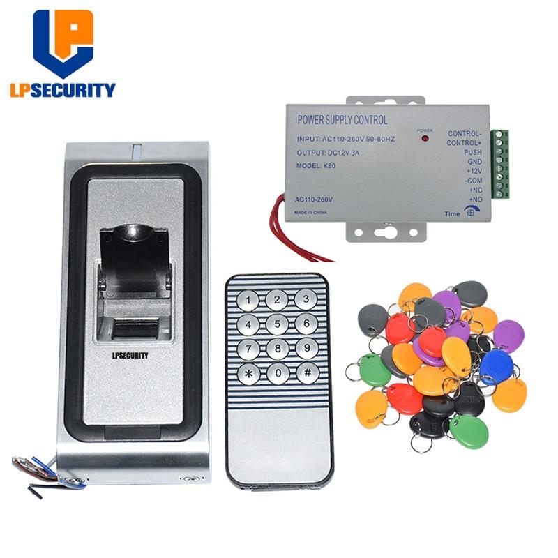 10 tags power adapter Metal Case Fingerprint Key Lock Access Control Machine Biometric Electronic Door Lock