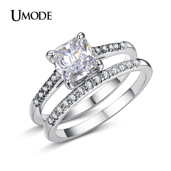 umode brand engagement ring set two band 16 carat princess cut zirconia crystal wedding rings for women hot anillos anel ur0139 in rings from jewelry - Wedding And Engagement Ring Set