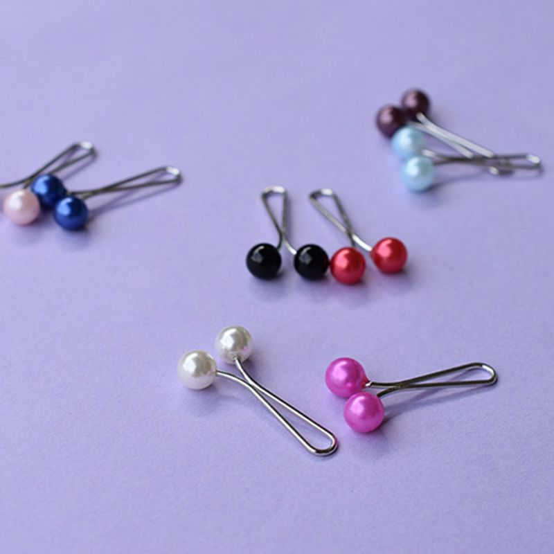 Image 4 - 12Pcs/Pack Muslim Women Scarves Hijab Stainless Steel U Clips  Colored Imitation Pearl Ball Pendant Safety Shawl Brooch PinsWomens  Hair Accessories