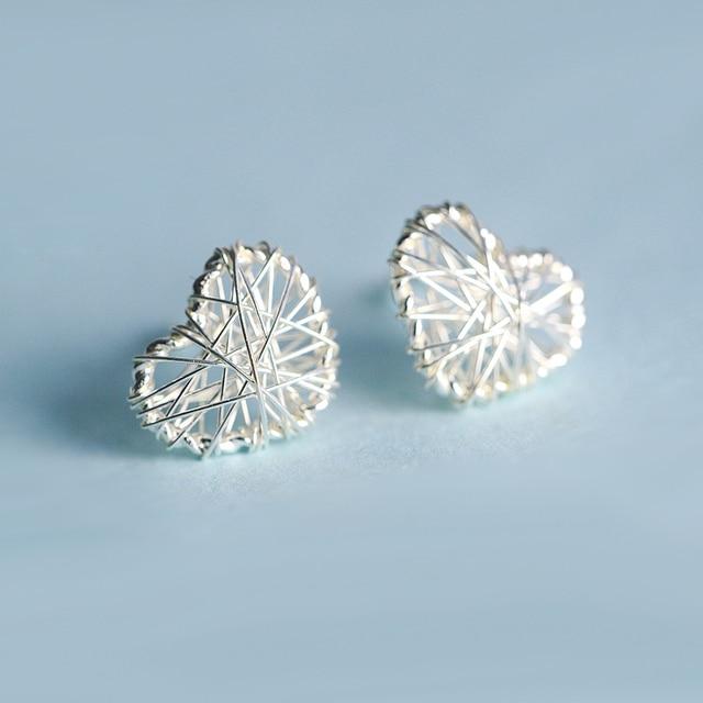 925 sterling silver original personality hand-wound heart-shaped earrings  female Korean creative fashion 21e7c12870a9