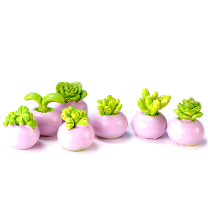 2PCS Random Mini Miniature Green Plant In Pot For Dollhouse Decoration Home Decor