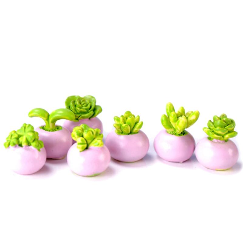 2PCS Random Mini Miniature Green Plant In Pot For Dollhouse Decoration Home Decor