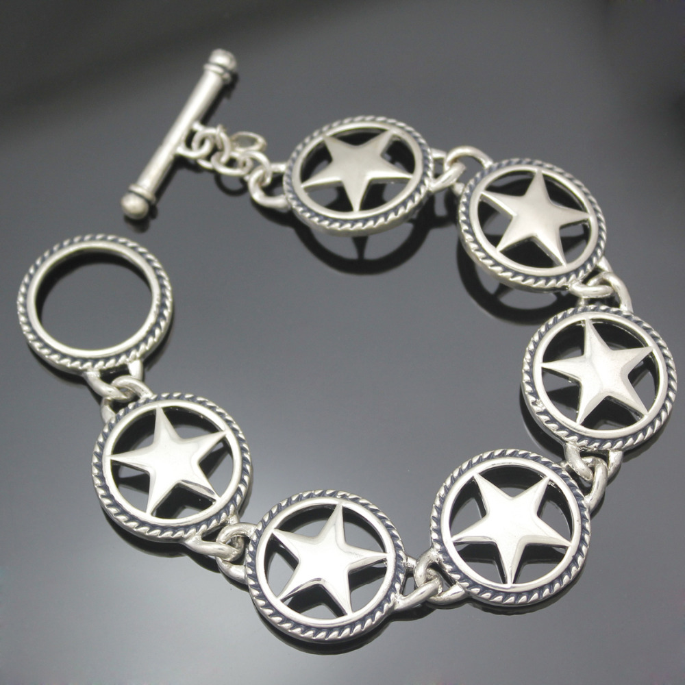 Western Southwest Cowgirl Silver Texas Ranger Star Charms Link Toggle Bracelet Bangle Jewelry Pulseira Feminina Dropshipping