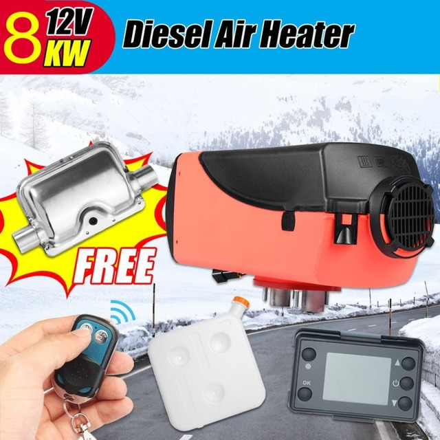 (Ship From DE)Car Heater 8kw 12v Single LCD With Remote Control Silencer Diesel Air Heater for Motorhome Trailer, Trucks, Boats