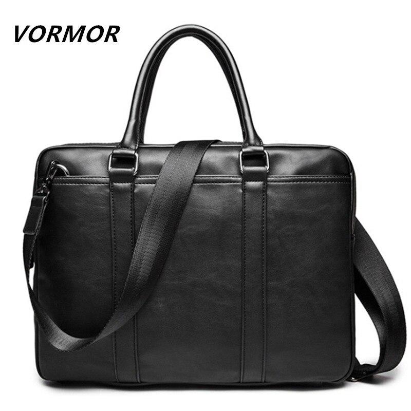 VORMOR Promotion Simple Famous Brand Business Men Briefcase Bag Luxury Leather