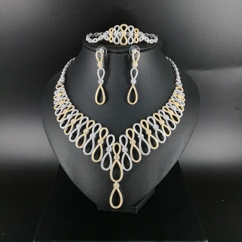 2018 new fashion luruxy crystal CZ zircon necklace earring bracelet ring jewelry set wedding bride banquet dressing jewelry set new beautiful pink crystal necklace bracelet earring ring set aa265