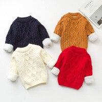 子供のセーターベビー服oネック暖かいセーター子供セーター豪華なベルベット幼児子供1-9 t