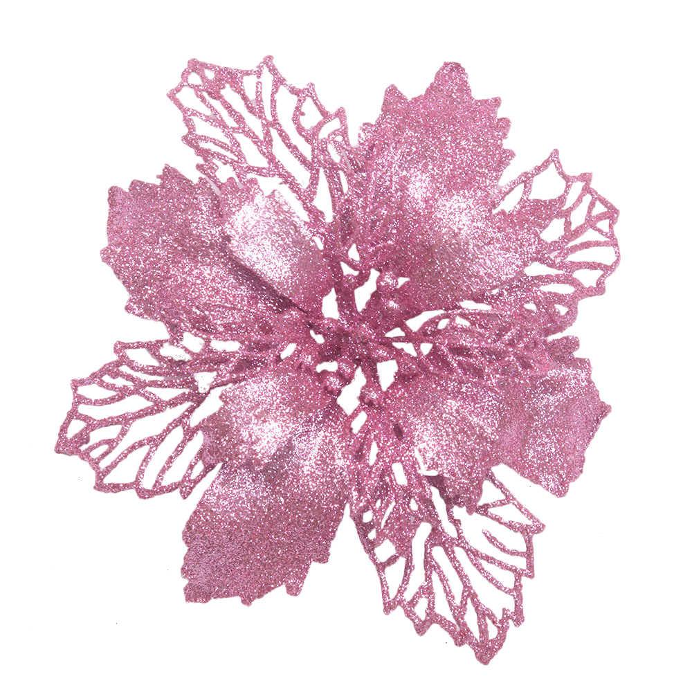 1 pc 16 cm roseta romântica pendurado charme festa decoração árvore de natal ornamento artificial flor decoração da árvore de natal