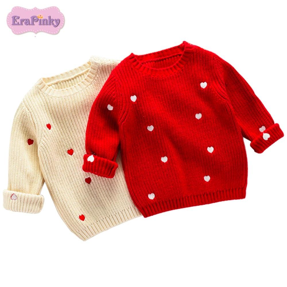 Erapinky 2018 New Long Sleeve Sweater Tops For Kids Girls Lovely Heart Print Sweatshirt 1-5 Years Children Girls Clothes Winter letter print long sleeve sweatshirt dress page 1