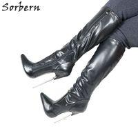 Sorbern женские сапоги до колена 18 см высокий тонкий металлический каблук Botines Mujer 2019 Большие размеры на заказ цвет вечерние женские вечерние Ро