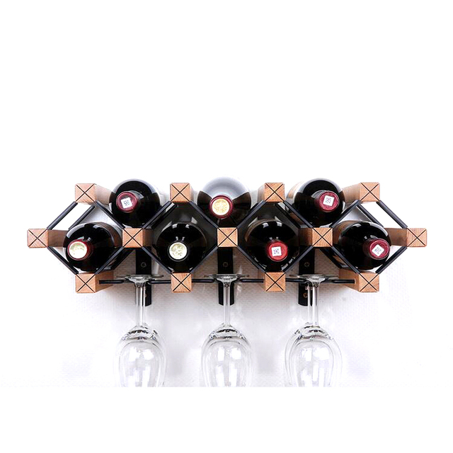 Wooden Wine Rack Bottle Holder Wine Glass Rack Shelf Wood Wine Cup