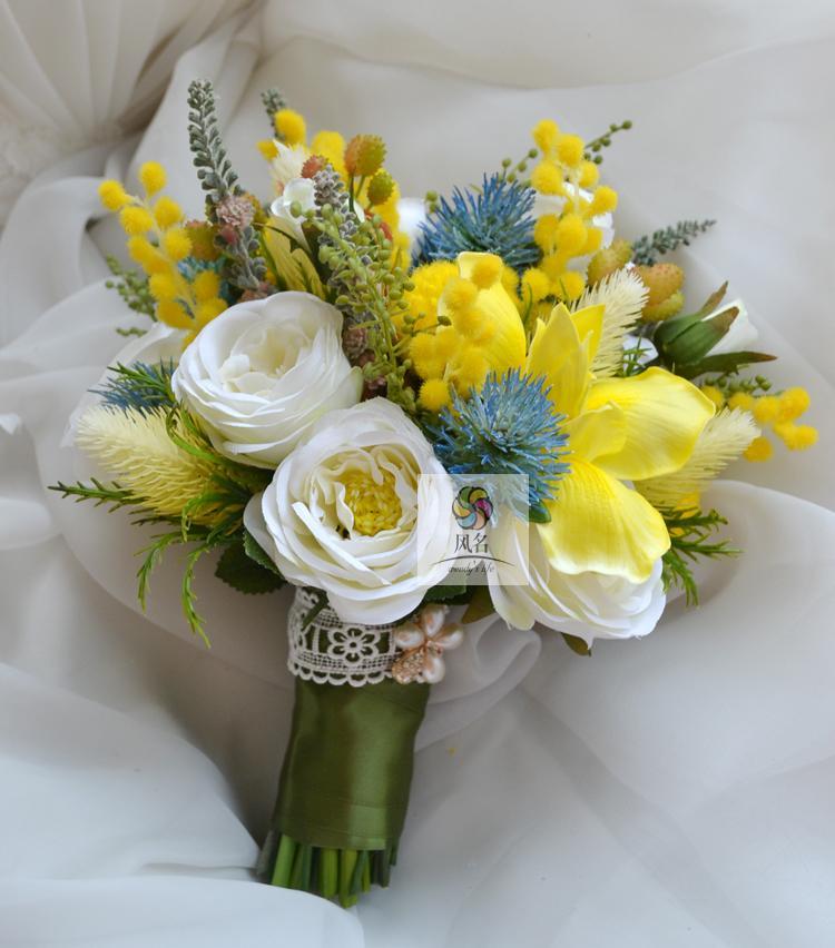 Yellow And White Flowers For Weddings: New Style Handmade Yellow Blue White Rose Thistle Iris Flo