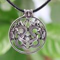 1 unids Nórdicos Vikingos Amuleto Colgante de Collar de estilo doble Collar colgante de Dragón Noruega Viking Borre Talismán